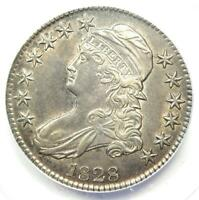 1828 Capped Bust Half Dollar 50C - Certified ANACS AU50 Details - Rare Coin!