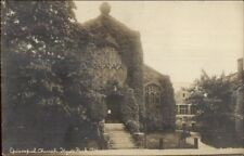Hyde Park MA Church Covered in Ivy c1910 Real Photo Postcard