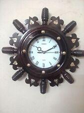 Nautical Ship Wheel Model Wall Clock Quartz Rosewood Hand Carved Clock New