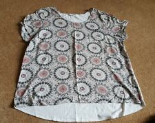 DEBENHAMS THE COLLECTION White Pinks Short Sleeve Top Size 20