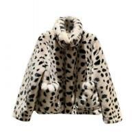 Women's Leopard Plush Jacket Faux Rabbit Fur Lapel Short Coat Winter Leisure L
