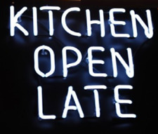 "Kitchen Open Late Bar Beer Pub Acrylic Neon Light Sign 14"" Artwork Glass Decor"