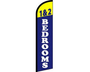 1 & 2 Bedrooms Yellow / Blue / White Windless Banner Advertising Marketing Flag