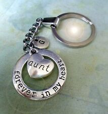 Aunt Keychain - Forever in My Heart with Letter Charm * Aunt Birthday Gift