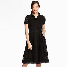 $169 NWT TALBOTS Black Eyelet Shirt Dress Shirtdress Button Down 2 Petite 2P