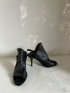 Balenciaga High Heel Sandals Booties black leather size 6.5