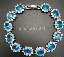 Natural sky blue zircon crystal gemstone white Gold-plated bracelet