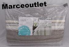 Martha Stewart Garrison Stripe Neutral FULL / QUEEN Quilt & Shams Ivory - Gray