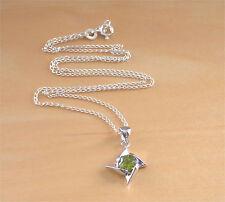 """925 Peridot Star Pendant & 18"""" Chain/Peridot Necklace/Peridot Jewellery/August"""