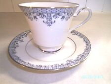 Noritake China CHARLESTON Footed Cup & Saucer Set 7148  Blue Leaves Scrolls