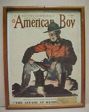 FRAMED AMERICAN BOY  MAGAZINE COVER RCMP MOUNTIE 1937