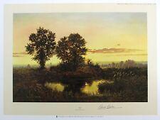 """Gerald coulson """"crépuscule"""" paysage étang lim ed signé! taille: 51cm x 68cm neuf rare"""