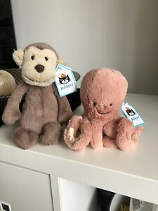 Brand New 2x Jellycat  monkey and Octopus