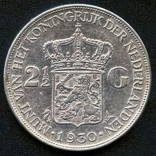 1930 Netherlands 2 1/2 Gulden Silver Coin ( 25 Grams .720 Silver )