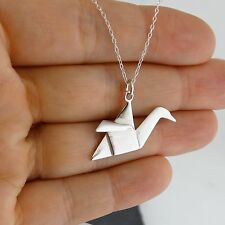 Origami Crane Charm Necklace - 925 Sterling Silver - Paper Bird Japan Asian NEW