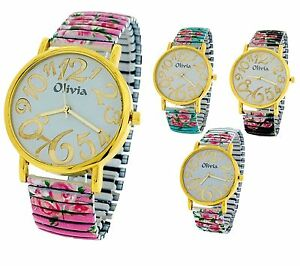 TOC Women Girl Flowery Expander Stretchy Bracelet Strap Dress Watch Gift For Her