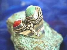 Silberring 56 breit Türkis Koralle Antik Handarbeit Ring Silber Indianer Floral
