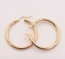 "1.25"" 3mm X 30mm Plain Shiny Hoop Earrings REAL 10K Yellow Gold Hollow"