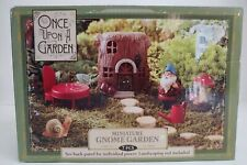 Once Upon A Garden Miniature Gnome Garden 7 Piece Set New in Box