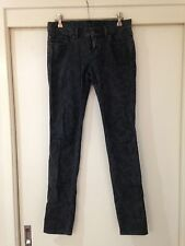 Ksubi Womens Black Skinny Jeans Floral Pattern Size 26 In Good Condition