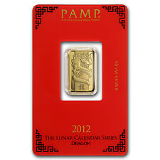 5 gram Pamp Suisse Year of the Dragon Gold Bar - In Assay - SKU #74114
