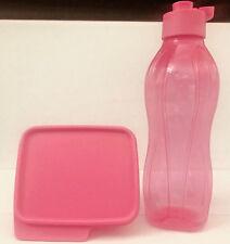 Tupperware Xtreme Set - Pink Flip Top Eco Water Bottle 750 ml + Keep Tab Box