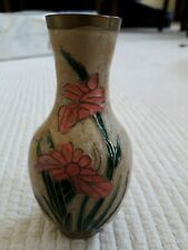 "Cute decorative pink new floral heavy brass ornamental vase 4""tall and 2"" wide"