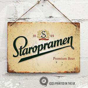STAROPRAMEN Beer Metal Wall Sign Pub Bar Kitchen Home Mancave Retro Lager Prague
