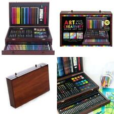 Wood Art Set Kids Drawing Painting Supplies Colored Pencils Sketch Kit 142 Piece