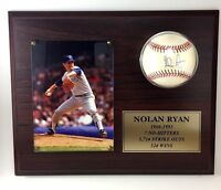NOLAN RYAN Autographed OAL 13x10.5 Inch Ball Plaque Career Stats - COA Included