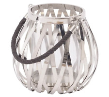 Silver Woven Metal Lantern with Leather plated Handle