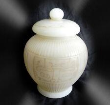 Large Chinese vintage white jade Hetian covered jar vase with lid