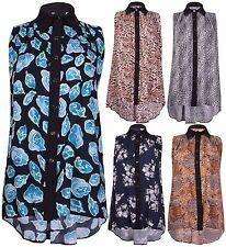 Womens Plus Size Printed Ladies Sleeveless Button Collar Fishtail Long Shirt Top