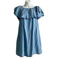 Sneak Peek Women's Off The Shoulder Ruffle Chambray Blue Cotton Size L Dress