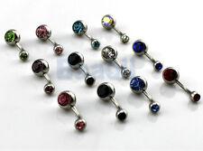 12 Ball Gem Crystal Rhinestone Belly Navel Barbell Button Bar Ring Body Art CG