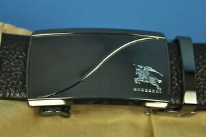 New HERMES Black Textured Leather Belt With Burberry Ratchet Buckle size 36