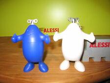 ALESSI *NEW* Set 2 moulins poivre&sel bleu/blanc résine 9x5cm h.12,5cm ASP06/07