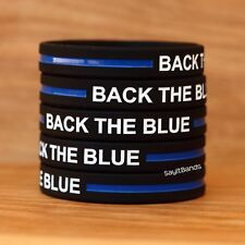 10 Back The Blue Wristbands - Silicone Awareness Bracelets with Thin Blue Line