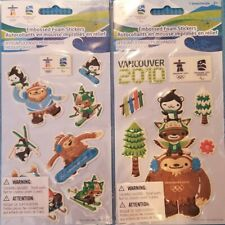 Vancouver 2010 Olympic Stickers - 2 Packs - 3D - Mascots Quatchi Sumi Miga Logo