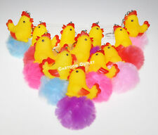 12 X BABY SHOWER Ckicken KEY CHAINS PARTY FAVORS Bebe RECUERDOS Rooster Yellow
