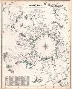 """1834 Principal Rivers Map: Courses, Countries, Lengths 11""""x14"""" Wall Art Poster"""