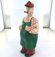 .UNUSUAL / VINTAGE DECANTER, UNKNOWN MAKER. MAN SMOKING CIGAR.