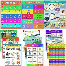 Educational Posters, 12pcs Preschool Learning Posters Laminated Alphabet New