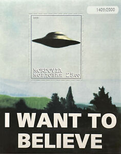 X-FILES STAMPS 1999 MNH SCI-FI FLYING SAUCER FAUX ISSUE I WANT TO BELIEVE SPACE