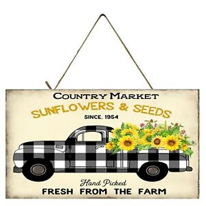 Black Buffalo Check Sunflowers Truck  Printed Handmade  Wood Sign