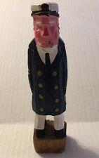 Wood Carved Figure Fisherman/Old Salt Vintage Nautical Estate Sale Find  H