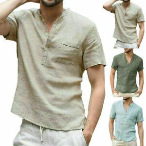 Herren Sommer Kurzarmshirt Leinenhemd Henley Hemden Freizeit Slim T-Shirt Tops