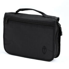 Medium Bible Cover, Black Canvas Bag Case with Embroidered Cross Design