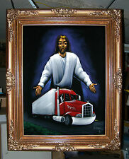 Trucker Jesus and His 18-Wheeler Big Rig Truck, a Tijuana Black Velvet Painting