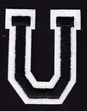 """LETTERS -  2"""" Black & White Letter  """"U""""  - Iron On Embroidered  Applique"""